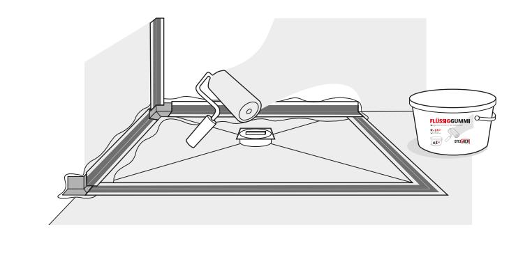 Zaleca się dwukrotne naniesienie warstw: raz przed i raz po nałożeniu kompletu uszczelniającego.