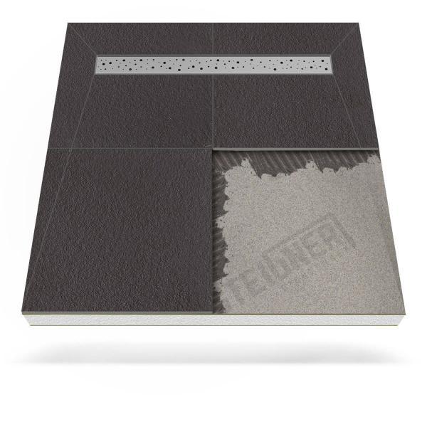 Steigner Befliesbares Duschboard Mineral BASIC mit Edelstahl Duschrinne