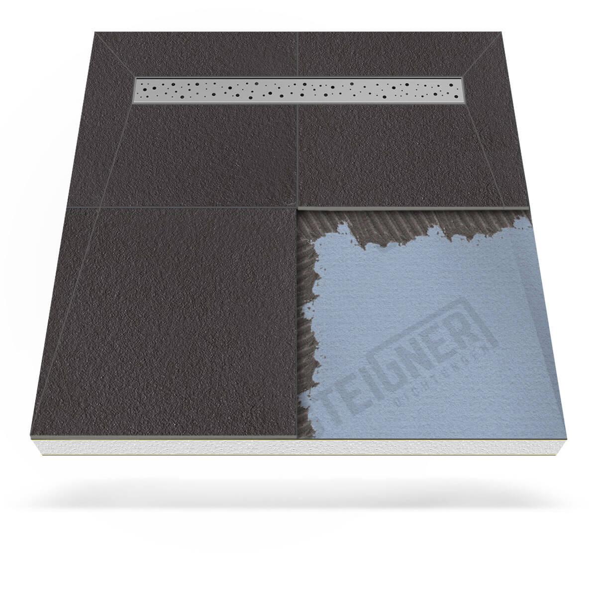 befliesbares duschboard mineral plus mit edelstahl duschrinne - steigner